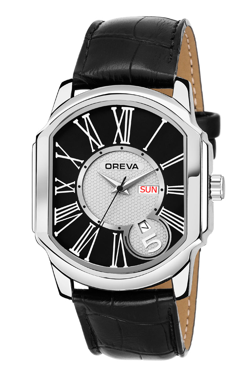 Oreva wrist watch (ORG-124) for men's/Boy's with leather belt with day & date features  dial of Black/brown/silver/blue/silver