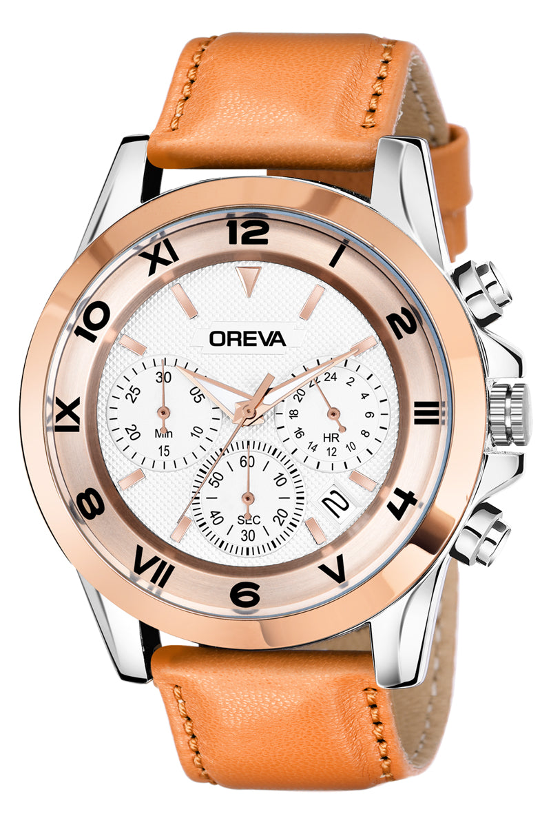 Oreva wrist watch (ORG-130) for men's/Boy's with leather belt,additional features of chronology with dial Black/brown/silver/Rose gold