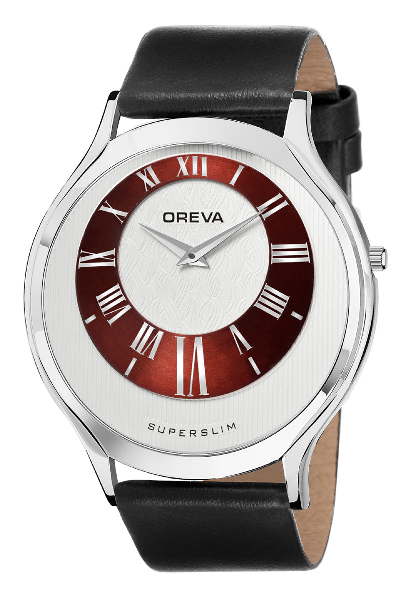 Oreva wrist watch (ORG-143) for men's/Boy's with leather belt,  super slim dial of Black/brown/silver/Rose gold/