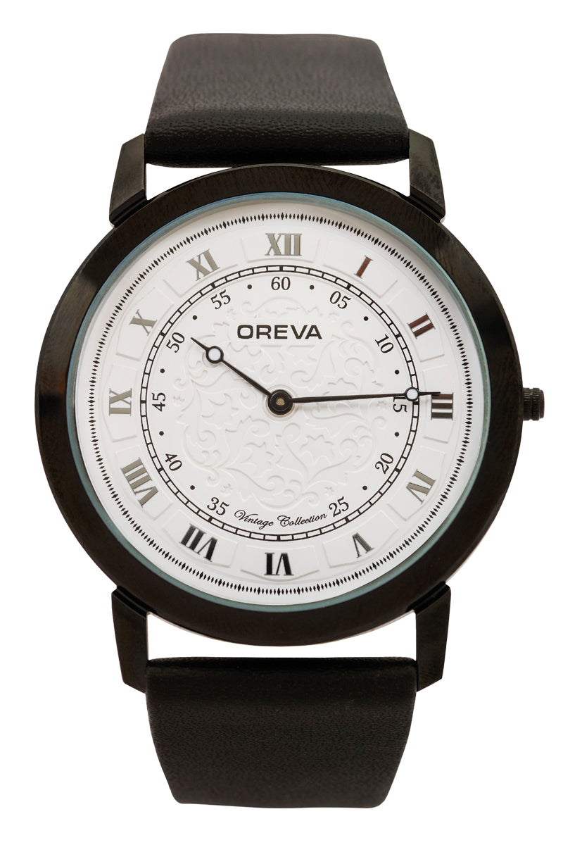 Oreva wrist watch (ORG-144) for men's/Boy's with leather belt,  super slim dial of Black/brown/silver/blue/Rose gold