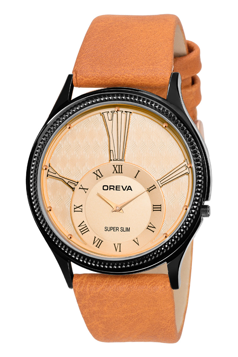 Oreva wrist watch (ORG-150) for men's/Boy's with leather belt,  super slim dial of Black/brown/silver/blue/Rose gold