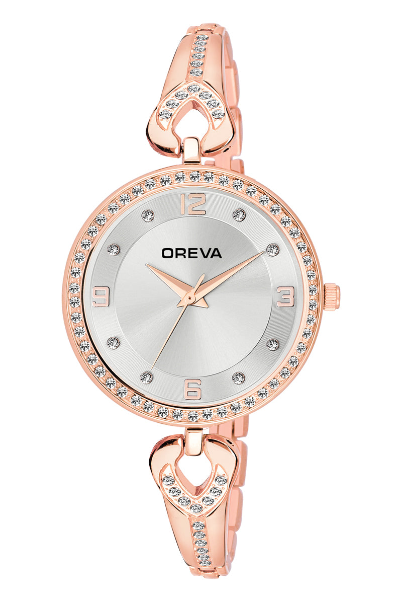 Oreva wrist watch (ORL-2004) for Ladies/Girls with metal belt, Rhinestone dial of Black/brown/silver/blue/Pink/Gold colours