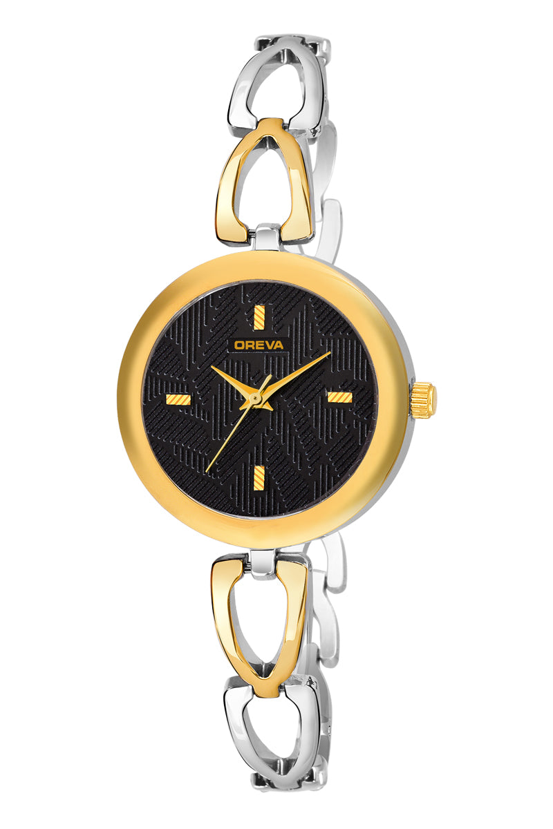 Oreva wrist watch (ORL-3007) for Girls & women with Metal  belt,  Universal Round dial of Black/Gold/Silver/Brown colours