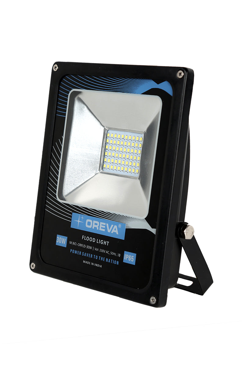 OREVA Led Flood Light 30W, Robust Aluminium Body, IP65 Rating- Weather/ Water Proof,  Outdoor Light ,White/Warm White Color, Wall/Pole fitting options, With Warranty.