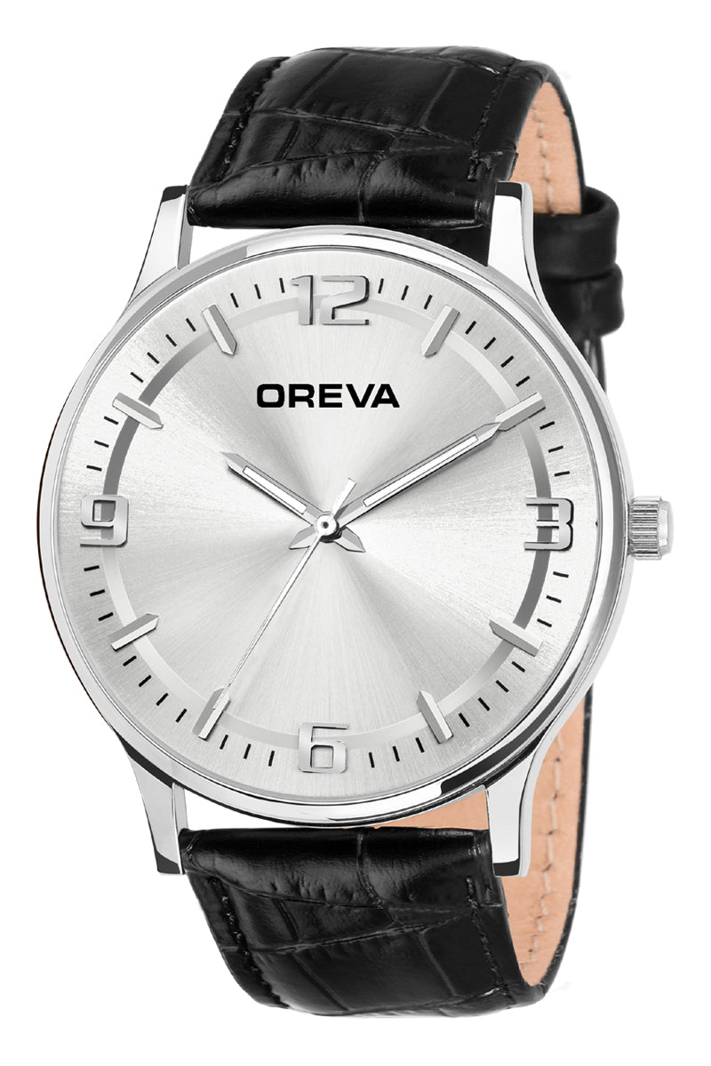 Oreva wrist watch (ORG-4001) for men's/Boy's with leather belt, universal display in Black/golden/silver dial