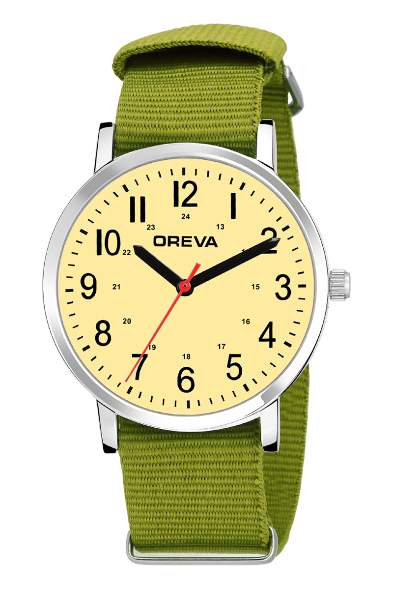 Oreva wrist watch (ORG-4002) for men's/Boy's with canvas belt, trendy display in Black/ivory/white dial