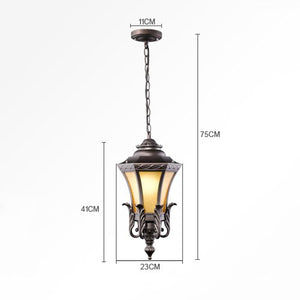Modeen European Glass Lantern Outdoor Ceiling Pendant Light Vintage Tradition Victoria Aluminum Waterproof Chandelier Courtyard Villa Balcony Terrace Aisle Corridor for E27 Decoration Lighting Fixture