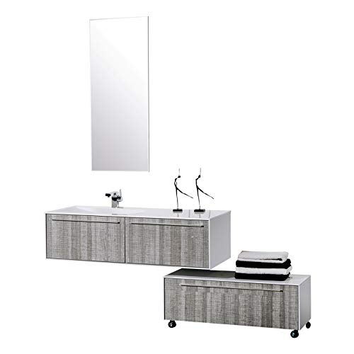 Aquamoon Star 53 High Gloss Ashwood Modern Bathroom Vanity with Mirror and Floor Mount Cabinet