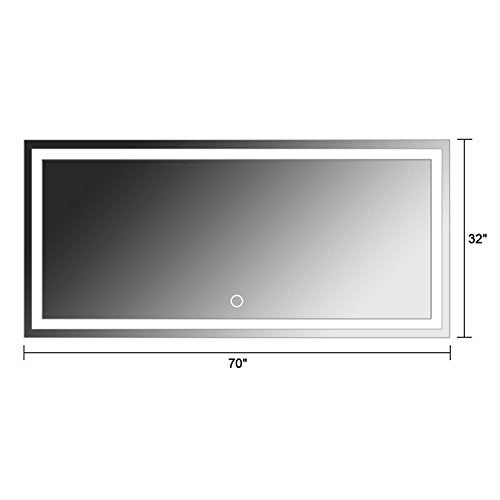 ZUI Space 70 x 32 in Horizontal LED Lighted Modern Make Up Bathroom Mirror with Touch Button (Z03-A)