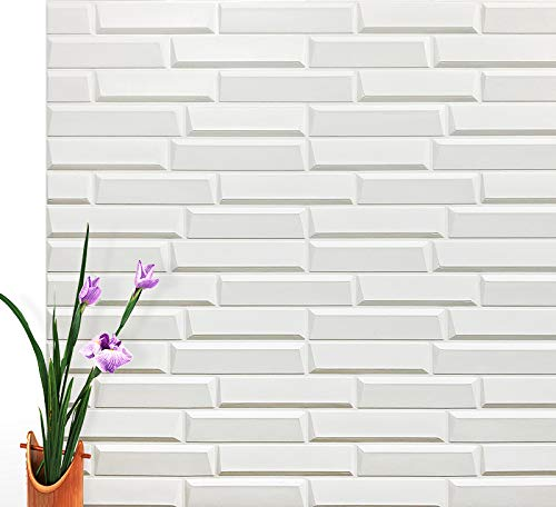 "Art3d Peel and Stick 3D Wall Panels for Interior Wall Decor, White, 27.5""x30.7"" (10 Pack)"