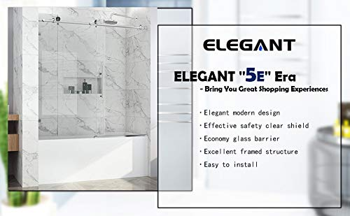 "ELEGANT 60"" W x 62"" H Sliding Tub Glass Shower Door, Frameless Bathtub Shower Door with Adjustment, 3/8"" Shower Clear Glass Panel, Chrome Finish"
