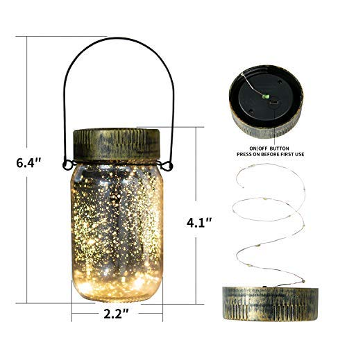 SUNWIND Solar Hanging Lights Outdoor Decorative- Solar Jar Table 10 LED Light Mason Lid Warm White Lighting for Garden Patio Backyard Gazebo 4 Pack (Silver)