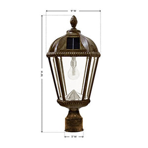 Gama Sonic GS-98B-S-WB Royal Bulb Lamp Post Outdoor Solar Light Fixture and Pole, Single, Weathered Bronze