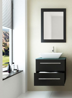 24 inch Carina Single Vessel Sink Wall Mounted Modern Bathroom Vanity Cabinet with Glass Top Model