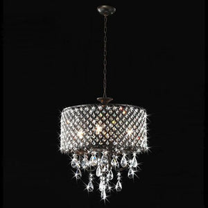 Lumos Antique Black 4-light Round Crystal Chandelier Drum pendant ceiling lighting Fixture for dining room, living room