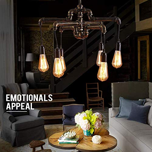 Ladiqi Industrial Vintage 6-Light Pipe Chandelier Light Hanging Pendant Lighting Table Light Fixture for Living Room Dining Room Kitchen