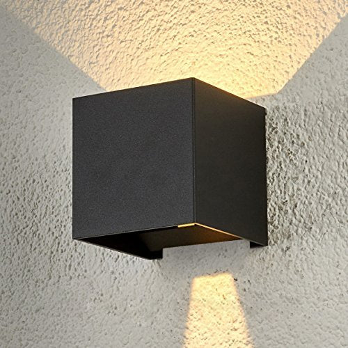 "LED Aluminum Waterproof Wall Lamp,12W 100-277V 3000K Adjustable Outdoor Wall Light Warm Light 3.94"" (Black-warm light)"