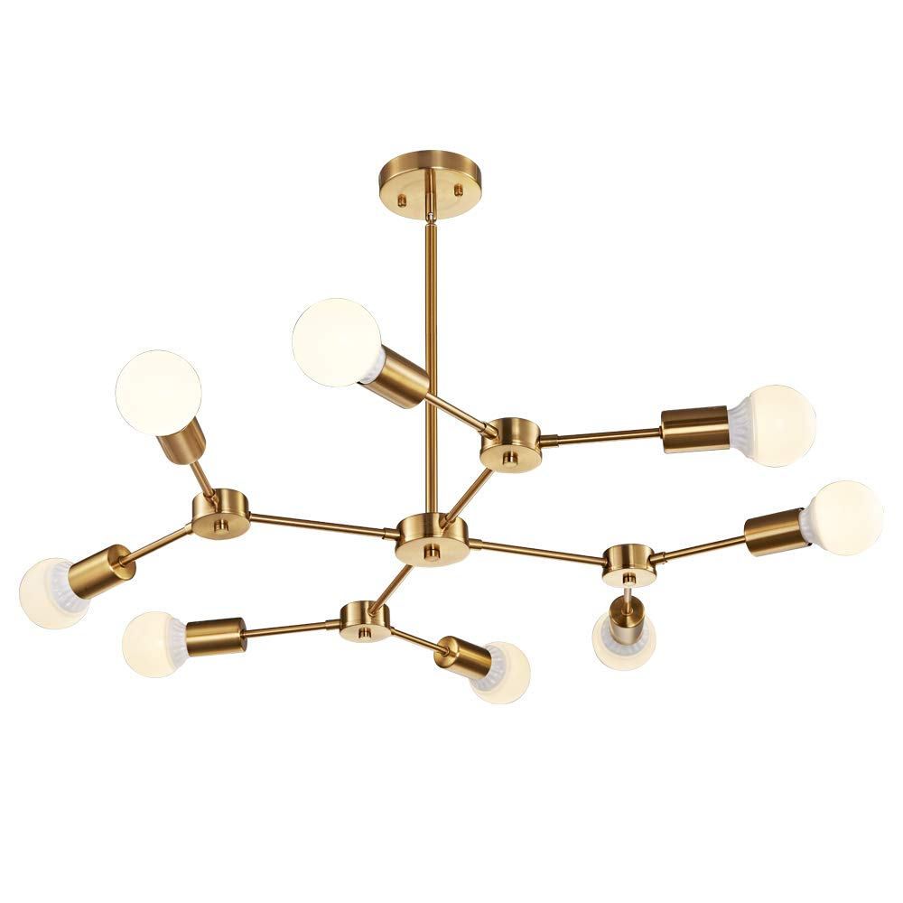 MELUCEE Brass Sputnik Chandeliers 8-Light Mid Century Modern Light Semi Flush Mount Ceiling Light Fixtures for Dining Room Kitchen Living Room Foyer and Hallway UL Listed