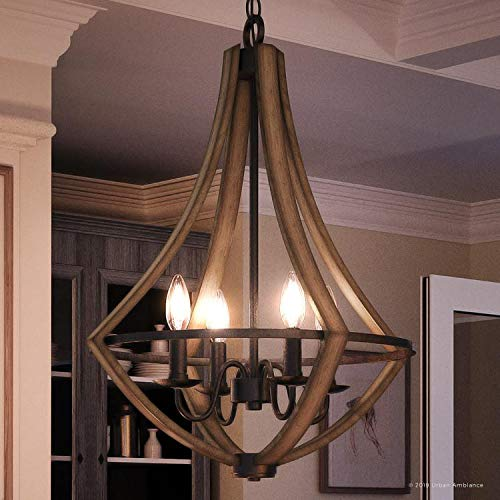 "Luxury Farmhouse Chandelier, Medium Size: 24""H x 18.25""W, with Rustic Style Elements, Wood Grain Metal with Antique Black Finish, UQL2962 from The Swansea Collection by Urban Ambiance"