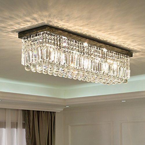 "Siljoy Rectangular Raindrop Crystal Chandelier Lighting Modern Ceiling Lights Flush Mount Fixture L31.5"" X W10"" X H10"""