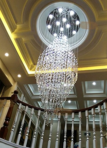 "7PM W31.5"" X H82.7"" Round Clear K9 Rain Drop LED Crystal Chandelier"