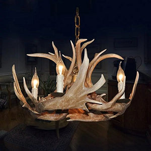 EFFORTINC Antlers vintage Style resin 4 light chandeliers, American rural countryside antler chandeliers,Living room,Bar,Cafe, Dining room deer horn chandeliers