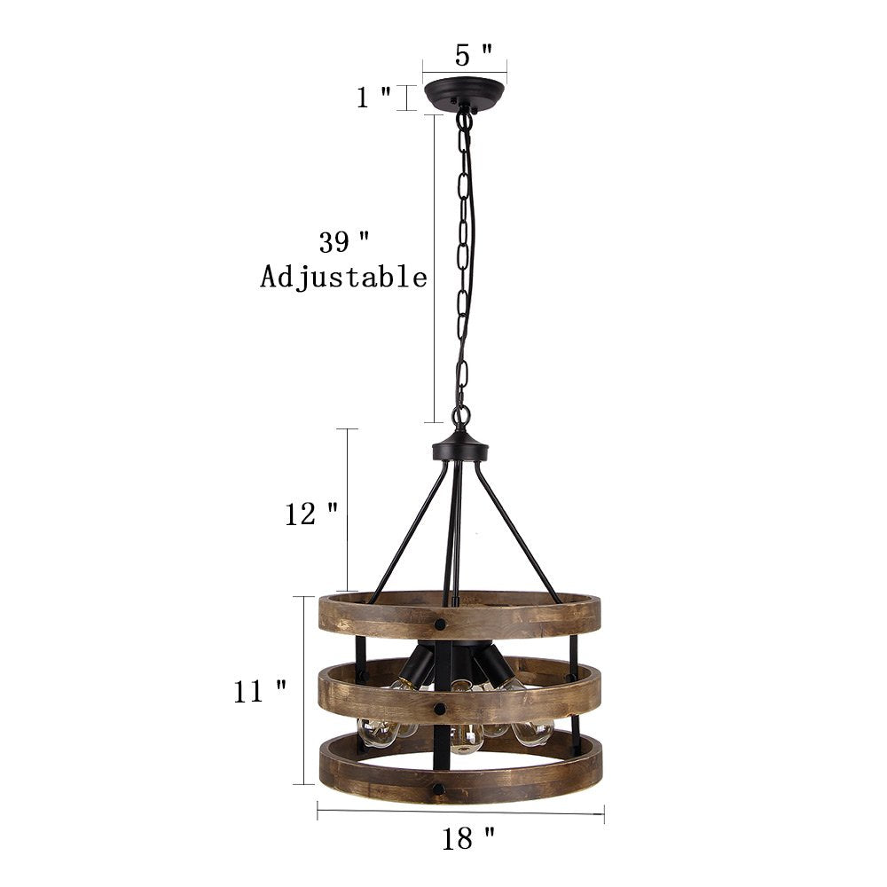 Anmytek Metal and Circular Wood Chandelier Pendant Five Lights Oil Black Finishing Retro Vintage Industrial Rustic Ceiling Lamp Light
