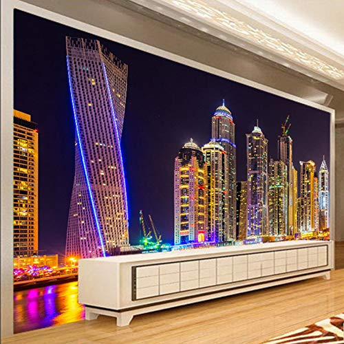 3D Murals Decorations Wallpaper Wall Stickers Dubai Night View City Building Home Decor Living Room Background Art Girls Bedroom (W)400X(H)280Cm