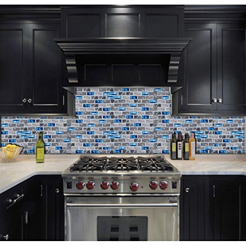 Ocean Teal Blue Glass Nature Stone Tile Kitchen Backsplash 3D Bath Shower Accent Wall Decor Gray Wave Marble 1 x 2 Subway Art Mosaics TSTNB03 (1 Sample 11.8 X 11.8 Inches)