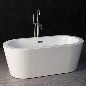"WOODBRIDGE B-0012/BTA-1506 WHITE 59"" Acrylic Freestanding Bathtub Contemporary Soaking Tub with Brushed Nickel Overflow and Drain, B-0012 / BTA1506"