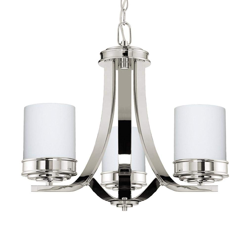 Langdon Mills Lighting Abbey Polished Nickel 3-Light Chandelier White Opal Glass Shades 19-inch