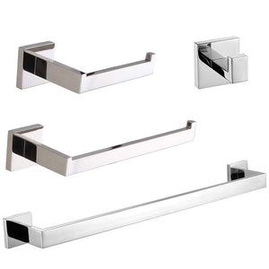VELIMAX Premium Stainless Steel 4-Piece Bathroom Hardware Set Wall Mount Chrome Bathroom Holders Modern Towel Bars Set Polished Finish