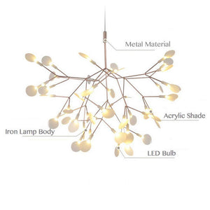 NIUYAO Sputnik Firefly Chandelier Led Pendant Lighting Ceiling Light Fixture Hanging Lamp with 45-Light (Rose Gold)