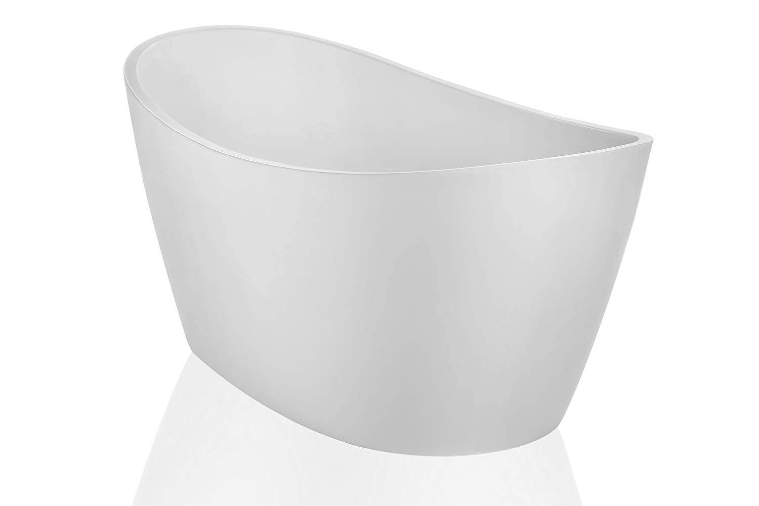 "Empava 67"" Made in USA Luxury Freestanding Bathtub Soaking SPA Flat Bottom Stand Alone Tub Modern Style with Custom Contemporary Design in White Acrylic EMPV-FT1518"