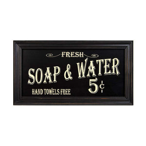 Vintage Bath Advertising Wall Art | Americana Collection | Bathroom Laundry Room Decor | 7 1/2 x 14 Inch