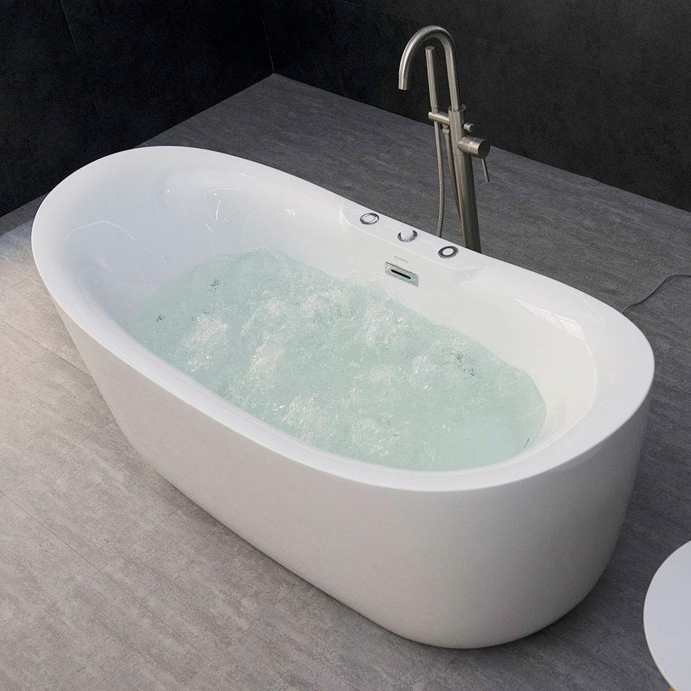 "WOODBRIDGE B-0034/BTS1611 71"" x 31.5"" Whirlpool Water Jetted and Air Bubble Freestanding Bathtub, B-0034 / BTS1611, Whirlpool & Air Tub, White"
