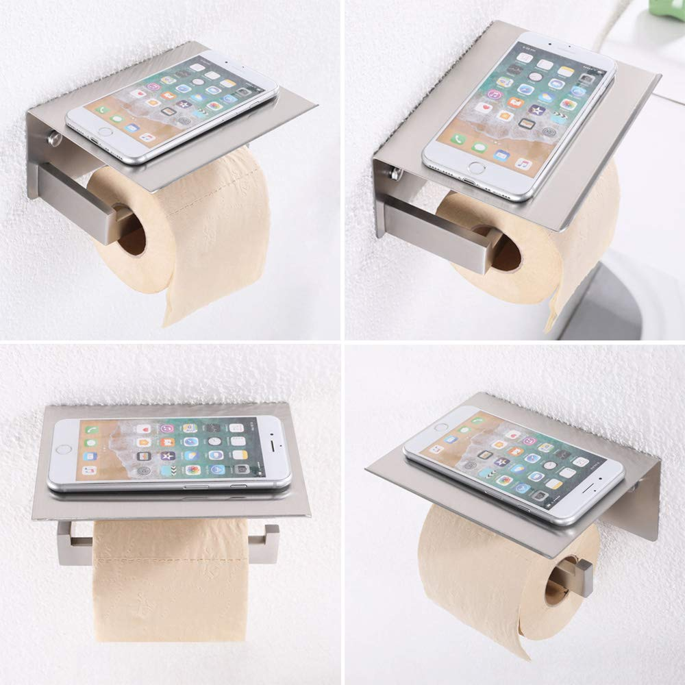 Toilet Paper Holder with Phone Shelf, APL Bathroom Accessories SUS 304 Stainless Steel Tissue Roll Dispenser Storage Wall Mounted, Brushed Nickel