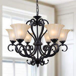 LNC 6-Light Chandelier Lighting Traditional Chandeliers Antique Black Iron Pendant Lighting