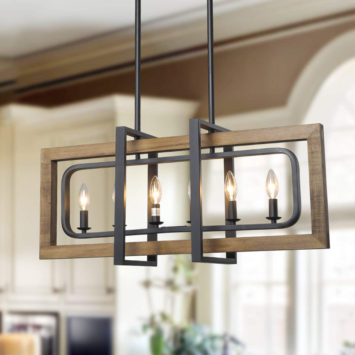 "LOG BARN 6 Lights Farmhouse Island Pendant Chandelier in Distressed Wood and Matte Black Metal Finish, 31.5"" Large Kitchen Light Fixture, A03429"