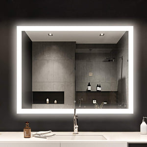Lighting Making Up Smart Backlit Mirror, ETL Certified Wall Mounted Lighted Backlit Mirror with Dimmer Touch Button-PANNACLE48 WX36 H