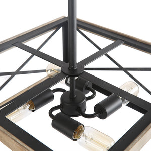 LNC Cage Pendant Lights, 4-Light Wood Bond Chandelier for Island, Dining Room, Living Room, Non-Flat Ceiling Applicable