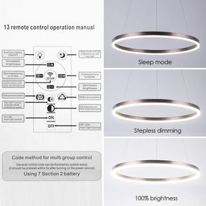 Diborui Ring Pendant Light Modern Round Shape Ceiling Light Fixture Adjustable Led Flush Mount Chandelier with 1 Ring for Bedroom, Living Room, Dining Room, Kitchen, White Light, Dimmable Version