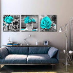 "wall art for living room Black and white rose flowers Blue Big Canvas Prints Wall Decor Artwork 24"" x 24"" 3 Pieces Framed Watercolor Giclee with Black Border Ready to Hang for bedroom Home Decoration"