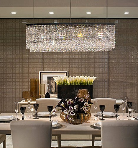 "Siljoy Modern Crystal Chandelier Lighting Oval Rectangular Pendant Lights for Dining Room Kitchen Island L 47.3"" x W 7.9"" x H 16"""