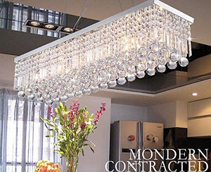 CRYSTOP Rectangle Crystal Chandeliers Dining Room Modern Ceiling Light Fixtures Polished Chrome Finish L31.5'' x W9.8'' x H8.9''