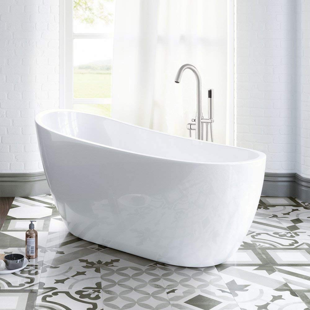 "WOODBRIDGE 54"" Acrylic Freestanding Bathtub Contemporary Soaking Tub with Brushed Nickel Overflow and Drain, B-0006 / BTA1507"