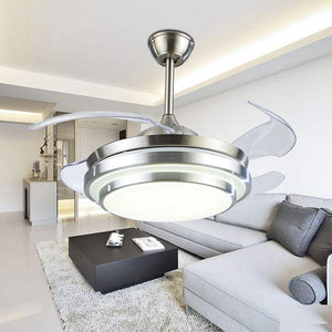 Fandian 42Inch Modern Ceiling Light with Fans Remote Control Retractable Blades for Living Room Bedroom Restaurant, Silver Color with Silent Motor (42In-1)
