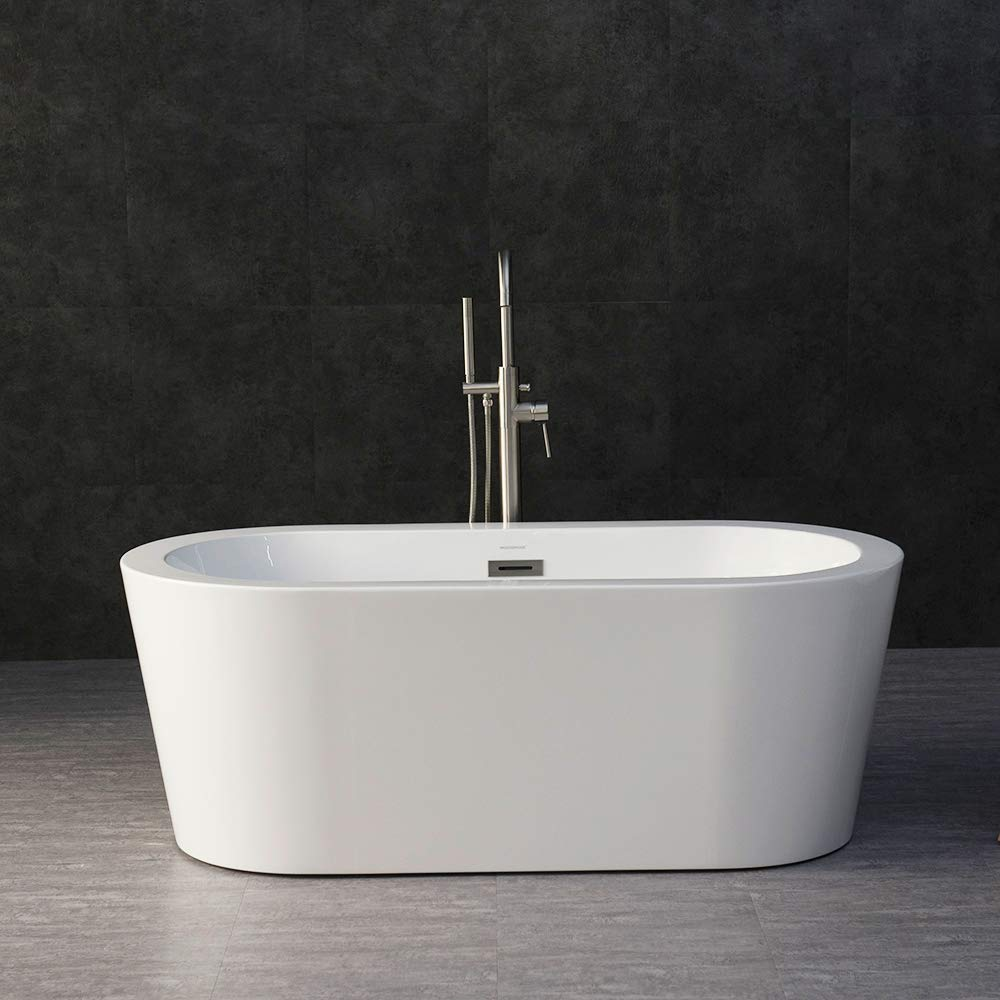 "WOODBRIDGE 59"" Acrylic Freestanding Bathtub Contemporary Soaking Tub with Brushed Nickel Overflow and Drain, B-0012 / BTA-1506"