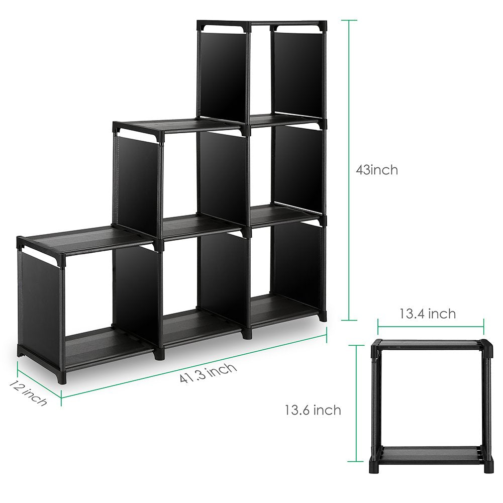 TomCare Cube Storage 6-Cube Closet Organizer Shelves Storage Cubes Organizer Cubby Bins Cabinets Bookcase Organizing Storage Shelves for Bedroom Living Room Office, Black