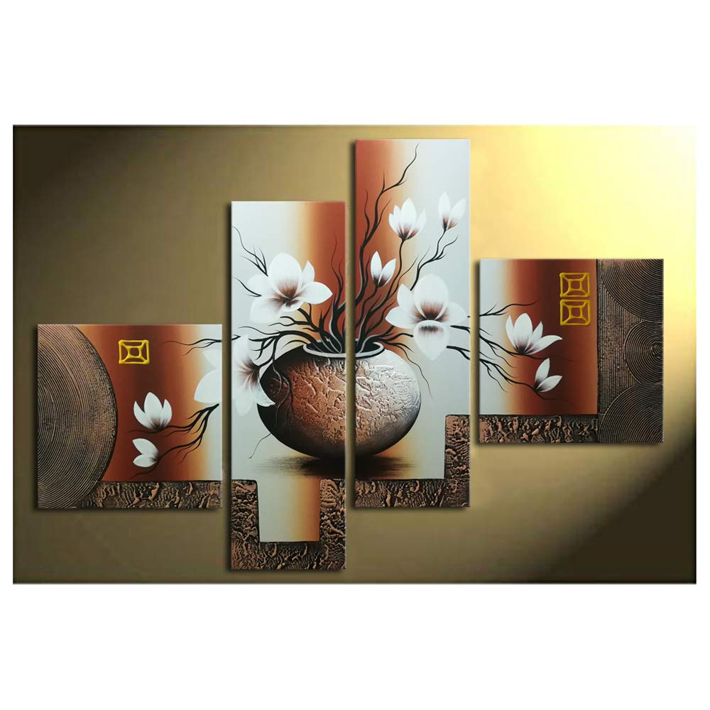 Wieco Art -Stretched and Framed 100% Hand-Painted Modern Canvas Wall Art Stretched and Framed Elegant Flowers for Home Decoration Floral Oil Paintings on Canvas 4pcs/Set